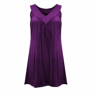 Toamen Women Summer Casual Sleeveless Fold T Shirt Dresses Beach Cover up Plain Tank Dress(Navy 18)