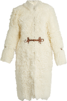 Roberto Cavalli Leather-embellished shearling coat