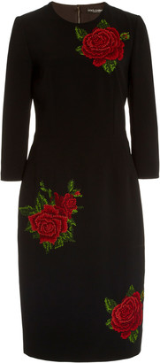 Dolce & Gabbana Rose-Embroidered Crepe Midi Sheath Dress