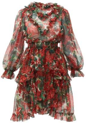 Dolce & Gabbana Geranium-print Ruffle-trimmed Silk Dress - Womens - Red Multi