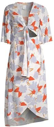 L-Space Paloma Floral Kellen Cutout Tie-Front Midi Dress
