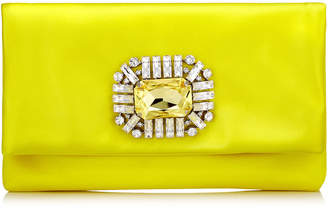 Jimmy Choo TITANIA Fluorescent Yellow Satin Clutch Bag with Jewelled Centre Piece