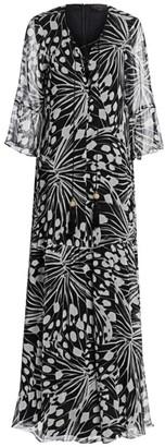 Marina Rinaldi, Plus Size Elegante Dinamico Lace-Up Printed Maxi Dress