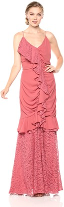 Keepsake Women's All Night Sleeveless V Neck Gown with Lace Ruffle Detail