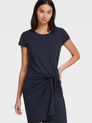 DKNY Women's Short Sleeve Tie Front Dress - Spring Indigo - Size XX-Small