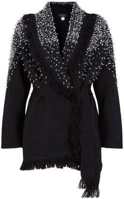 Alanui Hoarfrost Crystal-Embellished Belted Cardigan