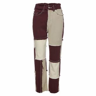 Jimmar Women's Patchwork Stitching Pants Hight Waist Distressed Straight Leg Denim Jeans