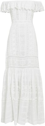 LoveShackFancy Niko Ruffled Eyelet Maxi Dress