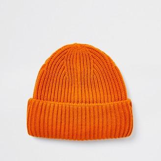 River Island Mens Orange fisherman beanie hat