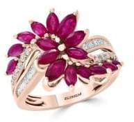 Effy Amore Diamond, Natural Ruby and 14K Rose Gold Ring