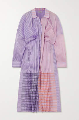 Nina Ricci Oversized Gathered Striped Silk And Cotton-blend Organza Shirt Dress - Lilac