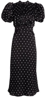 Rotate by Birger Christensen Dawn High-Neck Polka Dot Midi Dress