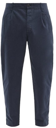 Folk Assembly Cropped Cotton-twill Chino Trousers - Navy