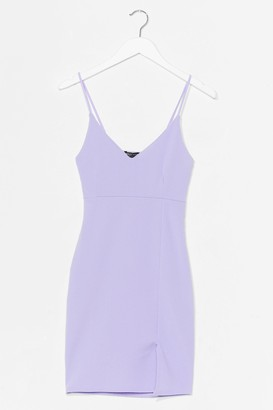 Nasty Gal Womens Black Midi Bodycon Dress with V-Neckline - Lilac