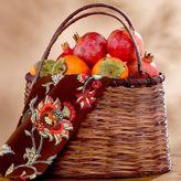 Brown Bamboo & Rattan Double Handle Basket
