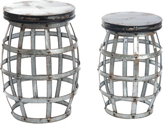 Transpac Set Of 2 Metal Silver Spring Multi Level Plant Holders