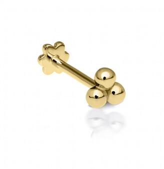 Maria Tash Large Three Ball Trinity Thread Through Yellow Gold Single Earring