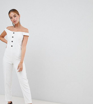Miss Selfridge Petite Button Front Occasion Jumpsuit-White
