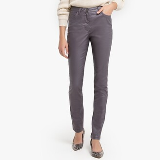 """Anne Weyburn Straight Cut Stretchy Coated Trousers, Length 30.5"""""""