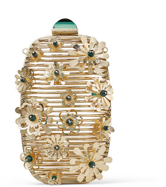 Jimmy Choo POSY Gold and Emerald Metal Cage Bag with Flower Embellishment