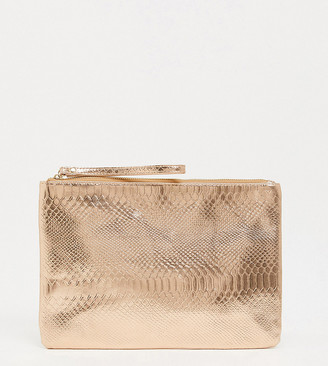 South Beach Exclusive snake embossed clutch in rose gold metallic