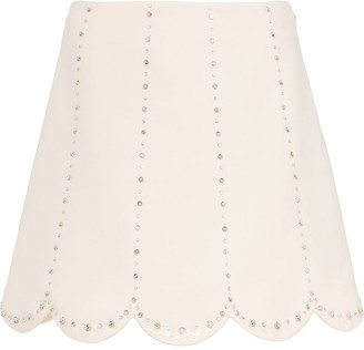 Miu Miu Embellished Scallop-Hem Skirt