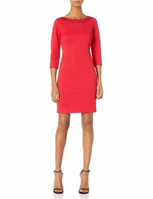 Taylor Dresses Women's Novelty Jacquard Knit Dress with Beaded Neckline