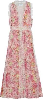 Giambattista Valli Chantilly Lace-trimmed Floral-print Silk-chiffon Maxi Dress