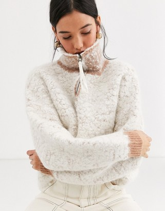 ASOS heavy wool blend half zip jumper