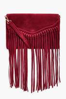 boohoo Emily Fringed Suedette Cross Body Bag wine