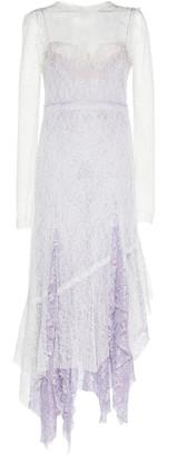AnaAs Jourden Two-Tone Ruffled-Trim Lace Midi Dress