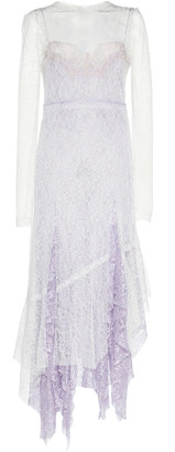 ANAÏS JOURDEN Two-Tone Ruffled-Trim Lace Midi Dress