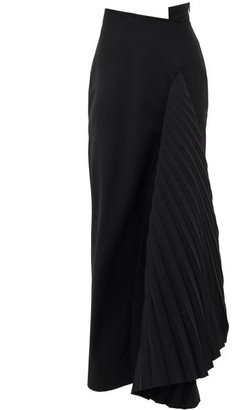 A.W.A.K.E. Mode Asymmetric Pleated-panel Crepe Skirt - Black