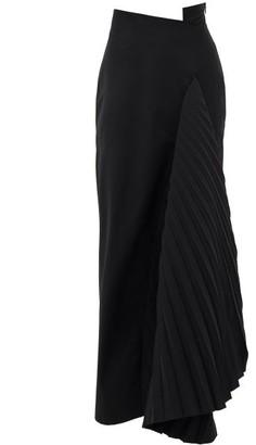 A.W.A.K.E. Mode Asymmetric Pleated-panel Crepe Skirt - Black