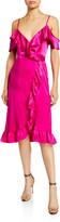 Nightcap Clothing Cold-Shoulder Ruffle-Trim Silk Midi Wrap Dress