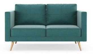 Rundell Loveseat Brayden Studio Fabric: Blue Topaz, Leg Color: Brass
