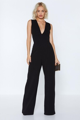 Nasty Gal Womens Takin' a Plunge V-Neck Wide-Leg Jumpsuit - Black - 6