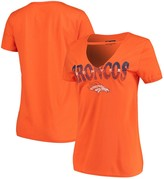 New Era Women's Orange Denver Broncos Baby Jersey V-Neck Choker T-Shirt