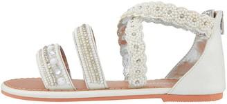 Monsoon Girls Sicily Cross Strap Pearl Beaded Sandals - White