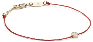 Redline Rose Gold And Diamond Pure Bracelet With Red Thread