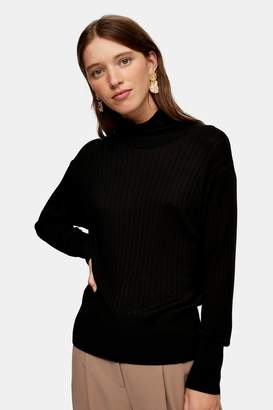 Topshop Black Boxy Funnel Knitted Top