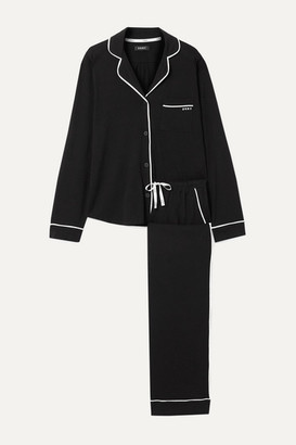 DKNY Signature Cotton-blend Jersey Pajama Set - Black