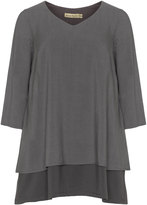 Isolde Roth Plus Size Back slit linen blend tunic