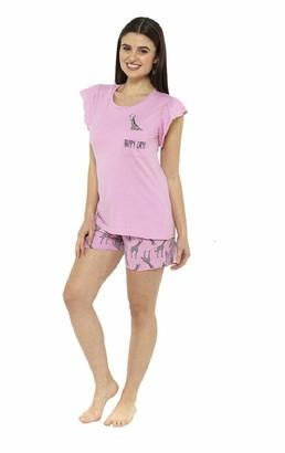Fox bury Ladies Pink Fun Giraffe Print Shorts Pyjama Set (Large)