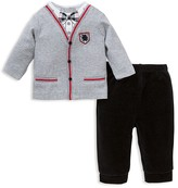 Little Me Infant Boys' Cardigan Look Jersey Top & Velour Pants Set - Sizes 3-9 Months