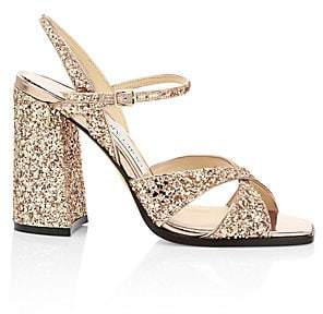 Jimmy Choo Women's Joya Glitter Leather Sandals