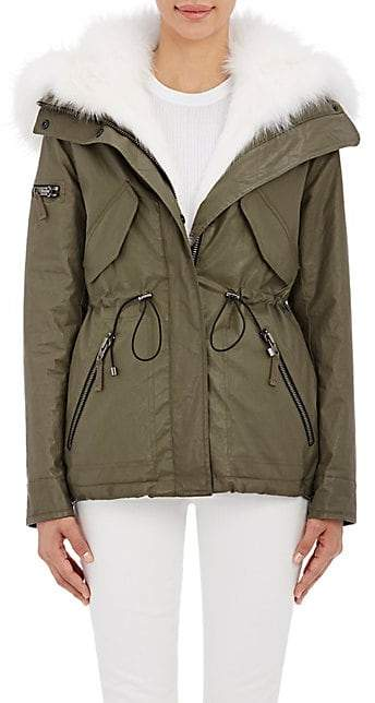 SAM. Women's Fur-Lined Hooded Jacket - Army, Wht