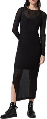AllSaints Francesco Ruched Long Sleeve Maxi Dress