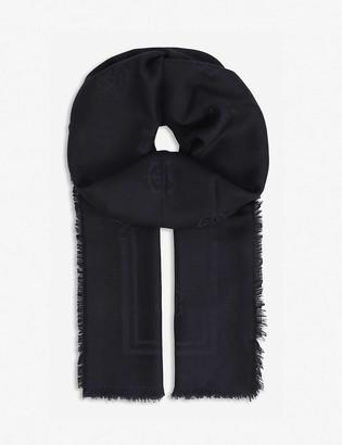 Eleventy Logo-jacquard cashmere and silk-blend scarf