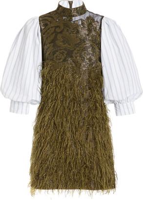 Ganni Feather-Embellished Jacquard-Paneled Cotton-Poplin Mini Dress